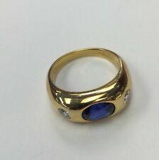 18K Gold Plated In 22k Gold Ring. Fine Saphire. .60TDW