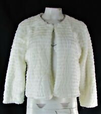 Calvin Klein Women's White Faux Fur Shrug Bolero Coat