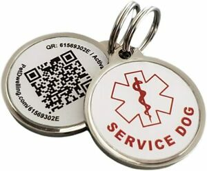 Service Dog QR code ID Tag Link To Online Profile/Med Info/Google Map Location