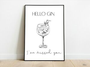 Hello Gin Kitchen Wall Print A3/A4/A5 Posters Gift Idea