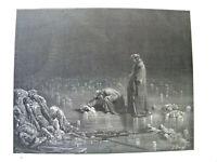 RARE Gustave Doré Planche 1877 signée dlp ENFER Dante AUTHENTIQUE XIX 143 ans 16
