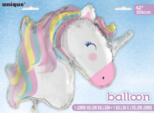 "Giant Unicorn Head 42"" SuperShape Foil Balloon Girls Birthday Party Decoration"