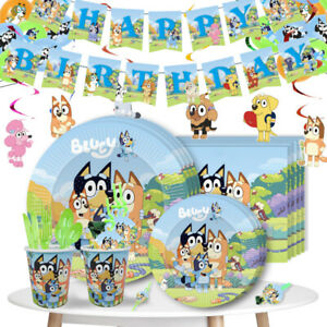 Bluey Bingo Plates Cup Banner Tablecloth Cake Topper Birthday Party Supplies