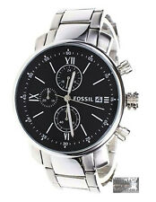 NEW! FOSSIL Men's Rhett Classic Watch BQ1000 Steel Bracelet Black Face Chrono