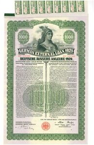 1924 German External Loan 7% Gold Bond – $1000 – Dawes Loan