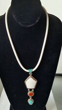 Shell Pendant Rubber Magnet Necklace Nepalese Silver Coral Turquoise Conch