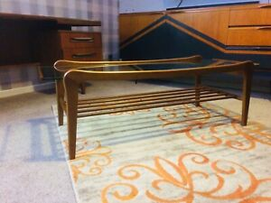 Mid Century Danish Style Teak & Floating Glass Coffee Table - G Plan Style