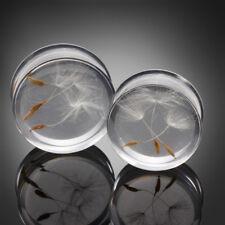 Pair Double Flared Ear Plug Smooth Acrylic Dandelion Clear Ear Expander Piercing