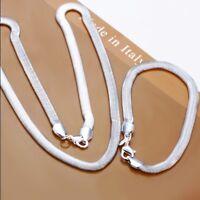 ASAMO Schmuckset Halskette Armband 925 Sterling Silber plattiert 2er Set SS1084