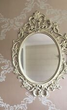 Shabby Chic Antique French Ornate Cream Oval Mirror