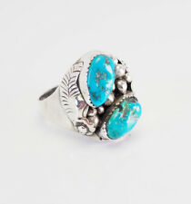Large vintage sterling silver turquoise Navajo mens ring sz 14 by Foster Yazzie