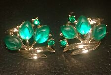 Green Jeweled Vintage Clip On Earrings