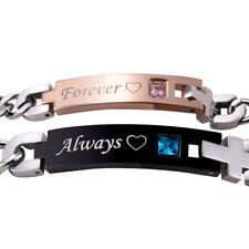 Couples Bracelets Forever; Always Stainless Steel Lobster Bracelet CB-01FA