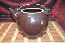 "Asian Clay Dark Brown Large Teapot, Planter w/ Metal Handle Marked 10""x7 1/4"""