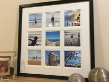"Large Multi App Photo Frame Fits 9-4""x4"" Double White Mount Black Frame"