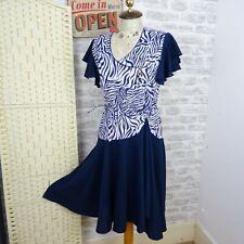 Vintage retro 80s dress flirty AFIBEL animal navy jersey granny chic hen M D603
