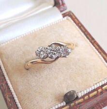 Vintage 18ct Oro Diamantes Anillo Trilogía tres piedra