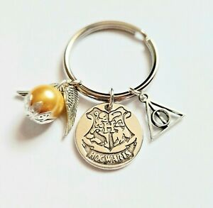 HOGWARTS Harry Potter Golden Snitch Deathly Hallows Charms Keyring Gift UK