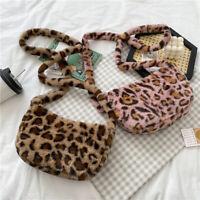 2021 Fluffy Handbag Leopard Print Crossbody Bag Plush Shoulder Messenger Bag.