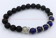 Fashionable obsidian Lapis lazuli Tibet silver Buddha lucky men bracelet