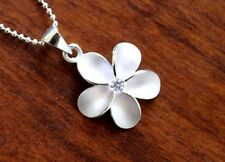 Hawaiian Jewelry  925 Sterling Silver PLUMERIA CLEAR CZ Pendant Necklace SP43801