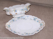 Antique GDA CH Field Haviland CHF765 Blue Floral Pattern Gravy Boat with Liner