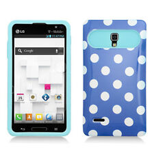 LG Optimus L9 T-Mobile P769 Hybrid Case Skin Pastel Cover Blue White Dots