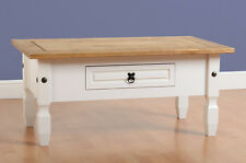 Seconique CORONA White & Distressed Waxed Pine 1 Drawer Coffee Table