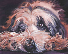Bearded Collie dog art canvas PRINT of LAShepard Painting beardie 11x14""