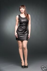 MINI DRESS FAUX LEATHER WITH STITCHING SMALL Queen of Darkness punk goth glam