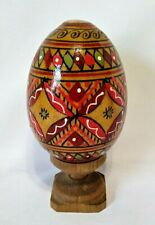 Vtg Hand Painted Colorful Decorative Design Wooden Easter Egg with Wood Stand