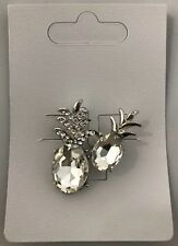 Gorgeous Pineapple Diamante Crystal Brooch Clear Stone *NEW* funky gift fruit
