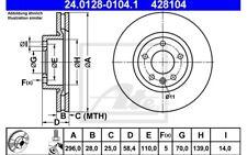 ATE Juego de 2 discos freno 296mm ventilado para OPEL OMEGA VAUX 24.0128-0104.1