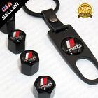 Black Car Wheel Tyre Tire Valves Dust Stems Air Caps Keychain With Trd Emblem