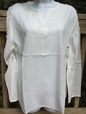 New_Lovely_Boho Shirt_Embroidered Beaded Tunic Top Off White / Cream_size 1X