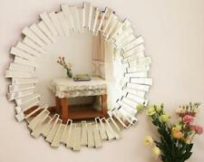 Sophisticated Sunburst Round Lounge Bathroom Venetian Beveled Glass Wall Mirror