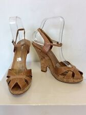 a76ca28a50a2 DKNY TAN LEATHER CORK SHAPED WEDGE HEEL SANDALS SIZE 4 37