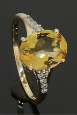 9CT Yellow Gold Oval Citrine Single Stone Ring With Accents Size N1/2  80.19.587