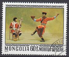 Mongolei Briefmarke gestempelt Tanz Tracht Musik Folklore Jahrgang 1977 / 174