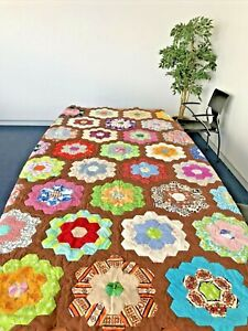 Vintage Handmade Queen Sized Quilt Grandma's Flower Garden  250 x 217 cm approx