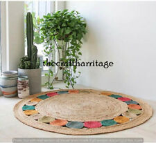 Indian Braided Round Jute Rug Natural Colour Rug Home Decor Dining Floor 5 Feet