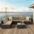 YITAHOME 7PCS Outdoor Patio Furniture Set Sectional Sofa Rattan Chair Wicker Set