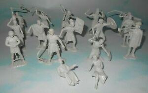 Vintage 1960 Marx Ben Hur Play Set Matching Gray Plastic Roman Figure Set of 16