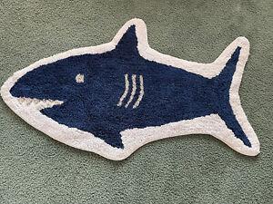 Shark Bath Rug Blue - Pillowfort - Navy Blue White Nautical Decor Bath Mat EUC