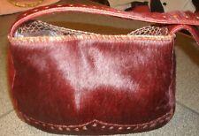 Vintage SPYR Italian goat fur Crimson studded shoulder bag