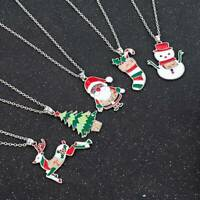 Cute Christmas Tree Snowman Santa Claus Pendant Necklace Long Sweater Chain Gift