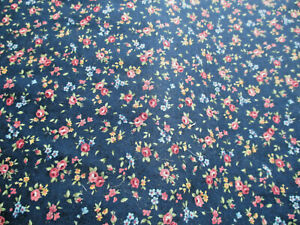 FAT 1/4 LECIEN FLOWER BOUQUET NAVY/PINK DITSY FLORAL FABRIC,100% COTTON WEIGHT