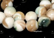 9MM PEACOCK SHELL GEMSTONE GRADE AAA SWIRL CREAM GREEN ROUND 9MM LOOSE BEADS 16""