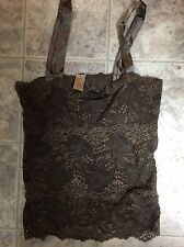 BANANA REPUBLIC Women's Dark Brown Lace Floral Camisole Top Satin Straps XS New