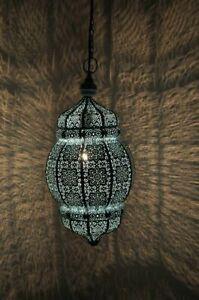 Sky Blue Moroccan Turkish Lamp Hanging Ceiling Light Fixture Oriental Lantern